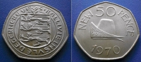 GUERNSEY - 50 New Pence 1970 - NORMANDY  DUCAL CAP - Guernesey
