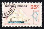 "Tokelau Used Scott #24 25c ""General Jackson´ Sailing Ships - Discovery Of Tokelau Islands - Tokelau"