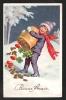 Bonne Année. Carte Porte-Bonheur. Un Joli Garçonnet, Vidant Un Sac De Pièces D´or, Trèfles Et Champignons, Dans La Neige - Nouvel An