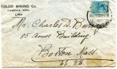 """Peru- Cover Posted From """"Toldo Mining""""Co./ Lima [canc.9.5.1916] To Boston/ Massachusetts-USA - Perú"""