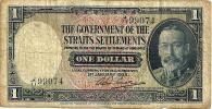 STRAITS SETTLEMENTS $1 BLUE KGV HEAD FRONT TIGER ANIMAL BACK DATED 01-01-1935 P.16b AVF READ DESCRIPTION!!I - Billets