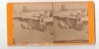 Photo Stéréoscopique NAPLES - Métier Osier,vannerie,Pêche - Enfants Avec  Des Paniers - Stereoscopio