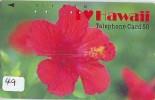 Télécarte Fleur HIBISCUS (49) Phonecard Telefonkarte Flower- Bloem - Blume - Hawaaii Related 110-31705 - Bloemen