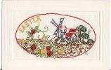 Carte Postale Fantaisie Brodée -  EASTER - MOULIN - - Brodées