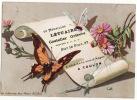 CHROMO Letuaire Coutelier Toulon Fleurs Papillons Parchemin Imprimerie Lauronce - Non Classificati