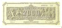 BILLETE DE GRECIA DE 2000 DRACMAS DEL AÑO 1944   (BANK NOTE) - Grecia