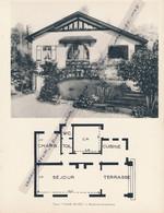 """Planche 1952 (photo Et Plan) : Villa """"Clair Soleil"""", Rouillon-Chartrette (77, Seine-et-Marne) - Architecture"""