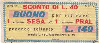 BUONO SCONTO / 1 Pacchetto Sesa Più 1 Pacchetto Pral - [ 2] 1946-… : Repubblica