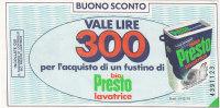 BIO PRESTO _ Buono Sconto Da Lire 300 - [ 2] 1946-… : Repubblica
