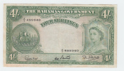 Bahamas 4 Shillings 1953 VF+ Crisp RARE Banknote P 13b 13 B - Bahamas