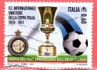 ITALIA - 2011 - Usato -  Inter Vincitore Della Coppa Italia 2010-2011 - 0,60 € • Stemma Dell´Inter, Coppa Italia - 2011-...: Oblitérés