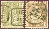 Schweiz 1863- Zu#36c + 36a Golden + Goldbronce Rötlich 1 Fr. Sitzende Helvetia - Oblitérés