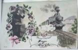 Photo LITHO Montage Homme Salut Chapeau Souvenir Bonjour De Liege GARE Train Vapeur Voyagé 1912 Vers Gare Noirfontaine - Souvenir De...