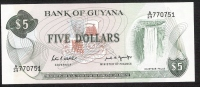GUYANA  P22e   5  DOLLARS   1989   Signature 7 UNC. - Guyana