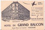 """"""" HÔTEL DU GRAND BALCON"""".   Angle Place Du Capitole.  Toulouse. - Cartes De Visite"""