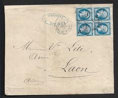 N° 22 En Bloc De 4  Sur Lettre De Paris Gare Du Nord - 1862 Napoléon III.