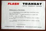 BILLET DE TRAIN SNCF FLASH TRANSAT COMPAGNIE GENERALE TRANSATLANTIQUE 21 DECEMBRE 1965 - Chemins De Fer