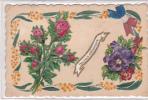20723 Carte Relief Collage Rose Pensée Heureux Aniversaire. - Anniversaire