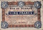 BON DE MONNAIE _ VILLE DE ROUBAIX & DE TOURCOING _ CINQ FRANCS - Bons & Nécessité