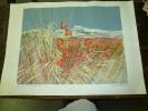 """LITHOGRAPHIE Dédicacée Et Signée De Gilbert Michaud  """"Soleil De Juin""""  Dimension Hors- Tout 75cm X 53cm - Lithographies"""