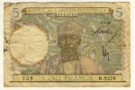 Afrique Occidentale  -  West Africa  -   5 Francs  -  6/5/42  -  Chiffre Bleu Clair  -  P. 25 - West-Afrikaanse Staten
