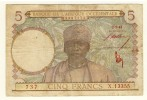 Afrique Occidentale  -  West Africa  -   5 Francs  -  2/3/43  -  Chiffre Rouge  -  P. 26 - West-Afrikaanse Staten