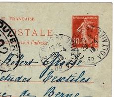 Entier Postal Semeuse 10c Genève Suisse Censure Autorité Militaire 1918 Paris Rue Voltaire + Correspondance - France