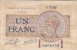 BILLET CHAMBRE DE COMMERCE DE PARIS BON DE UN FRANC N° 0078703 S F 59 1 JUILLET 1922 - Chamber Of Commerce