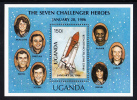 Uganda MNH Scott #568 Souvenir Sheet 150sh Challenger Astronauts - Ouganda (1962-...)