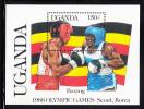 Uganda MNH Scott #558 Souvenir Sheet 150sh Boxing- 1988 Seoul Olympics - Ouganda (1962-...)