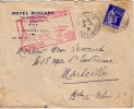 PARIS-NICE LIGNE POSTALE AERIENNE INAUGURATION 16 FEVRIER 1938 - CAD NICE GARE / 65c TYPE PAIX. - Luchtpost