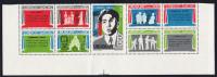 Uruguay MNH Scott #922a Block Of 5 Plus 4 Labels - Florencio Sanchez - Has Been Folded Along Perfs - Uruguay