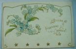 Carte Gauffrée Bandeau De Fleur Bleues Bonne Et Heureuse Année - Fantaisies