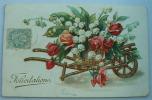 Carte Gauffrée Brouette De Muguet Roses Felicitations - Autres
