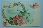 Carte Gauffrée Coeur + Fleurs Roses Bonne Fete - Fantaisies