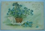 Carte Gauffrée Pot De Fleur Or + Fleurs Bleues Bonne Et Heureuse Fête - Autres