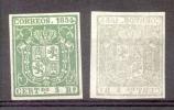 ESPAÑA AÑO 1854 FOND DE COULEUR YVERT NR. 26 5 REALES VERDE - BUENA FALSIFICACION DE EPOCA - 1850-68 Kingdom: Isabella II