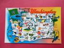 Map---  Greetings From  Washington  Early Chrome  ==   Ref   558 - Estados Unidos