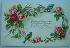 Carte Gauffrée Deux Oiseaux Sur Une Couronne De Roses Faut Il Avouer Ce Que Je Souhaite - Fantaisies