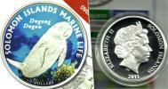 SOLOMON ISLANDS $10 DUGONG MARINE ANIMAL COLOURED FRONT QEII HEAD BACK 2011 SILVER PROOF READ DESCRIPTION CAREFULLY !!! - Salomon