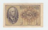 ITALY 5 Lire 1940 VF++ P 28 - [ 1] …-1946 : Kingdom