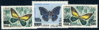 Lebanon C654-56 Mint Never Hinged Surcharged Butterflies Airmail Set From 1972 - Lebanon