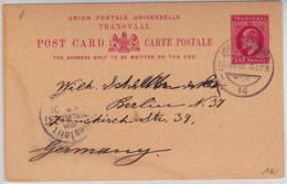 TRANSVAAL - 1904 - CARTE ENTIER POSTAL De JOHANNESBURG Pour BERLIN - Sud Africa (...-1961)