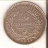 MONEDA DE PLATA DE URUGUAY DE 50 CENTESIMOS DEL AÑO 1877  (COIN) SILVER,ARGENT. - Uruguay