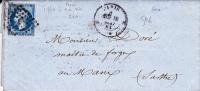 EMPIRE - 1861 - TIMBRE Avec PIQUAGE PRIVE Sur LETTRE De PARIS Pour LE MANS - Marcophilie (Lettres)