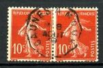"""138 - 10c Rouge Semeuse - Paire - Oblitération Convoyeur """"CAUNES A MOUX"""" - 1906-38 Semeuse Camée"""