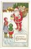 117. Christmas Santa With Children Postcard Early 1900's - Santa Claus