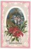 118. Christmas Green Santa Postcard Early 1900's - Santa Claus