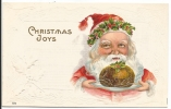 121. Santa With Christmas Pudding Postcard - Santa Claus