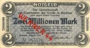 """Städte Großgeldscheine - Banknoten Während Der Inflationszeit V.1923 Bochum 2 Millionen  """"_"""" (132) - 2 Millionen Mark"""